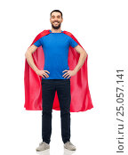 Купить «happy man in red superhero cape», фото № 25057141, снято 3 декабря 2016 г. (c) Syda Productions / Фотобанк Лори