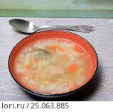 Купить «Тарелка супа и ложка столе», эксклюзивное фото № 25063885, снято 2 февраля 2017 г. (c) Яна Королёва / Фотобанк Лори