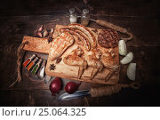 Купить «Various meats grill, food background, wood background», фото № 25064325, снято 12 января 2017 г. (c) Sergey Knyazev / Фотобанк Лори