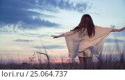Купить «Beautiful woman in a wheat field», видеоролик № 25064737, снято 15 декабря 2019 г. (c) Raev Denis / Фотобанк Лори