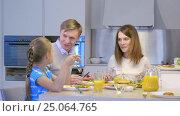 Купить «Family and child in kitchen», видеоролик № 25064765, снято 21 января 2020 г. (c) Raev Denis / Фотобанк Лори