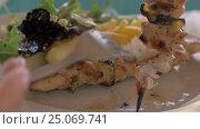 Купить «Having meal with chicken, crispy fries and salad», видеоролик № 25069741, снято 27 октября 2016 г. (c) Данил Руденко / Фотобанк Лори