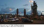 Купить «Placa Espana view in evening», видеоролик № 25074693, снято 17 декабря 2016 г. (c) Яков Филимонов / Фотобанк Лори
