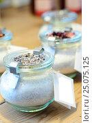 Купить «sugar with flowers, lavender, dried  petals, sugar, glass jar», фото № 25075125, снято 14 января 2013 г. (c) mauritius images / Фотобанк Лори