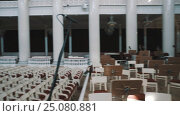 Panoramic shot from organ to empty seats in large classic music hall. Стоковое видео, видеограф Александр Багно / Фотобанк Лори