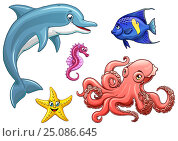 Купить «Set five cute marine animal black on white», иллюстрация № 25086645 (c) Анастасия Некрасова / Фотобанк Лори