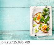 Купить «Healthy sandwiches», фото № 25086789, снято 22 января 2017 г. (c) Наталия Кленова / Фотобанк Лори