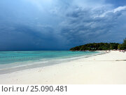 White sandy beach on stormy sky background. Стоковое фото, фотограф Михаил Коханчиков / Фотобанк Лори