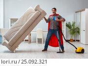 Купить «Super hero cleaner working at home», фото № 25092321, снято 22 декабря 2016 г. (c) Elnur / Фотобанк Лори