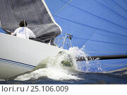 Купить «Crew on board a 12m yacht gathering in the foresail during a race.», фото № 25106009, снято 16 октября 2019 г. (c) Nature Picture Library / Фотобанк Лори