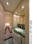 Купить «The en suite bathroom to the guestroom of the luxurious 35-metre motoryacht Gaia, from boatbuilder Cantieri Maiora, Italy.», фото № 25107669, снято 16 июля 2018 г. (c) Nature Picture Library / Фотобанк Лори