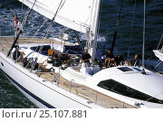 """Купить «Aerial view of cockpit and crew of the 147ft ketch """"Mari-Cha III"""" under sail.», фото № 25107881, снято 19 января 2020 г. (c) Nature Picture Library / Фотобанк Лори"""