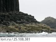 "Купить «Isle of Staffa meaning ""Pillar Island"" with its formations of columnar basalt, Scotland.», фото № 25108381, снято 15 августа 2018 г. (c) Nature Picture Library / Фотобанк Лори"