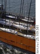 Купить «Yacht transport ship loaded up and leaving port, Newport, Rhode Island, USA.», фото № 25109581, снято 16 октября 2019 г. (c) Nature Picture Library / Фотобанк Лори