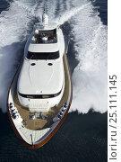 Купить «Luxurious 35-metre Gaia motoryacht, a model from the Cantieri Maiora boathouse, cruising along the coast of Viareggio, Tuscany, Italy.», фото № 25111145, снято 15 июля 2018 г. (c) Nature Picture Library / Фотобанк Лори