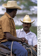 Купить «Cowboys sitting in the saddle, Cuba.», фото № 25112005, снято 17 августа 2018 г. (c) Nature Picture Library / Фотобанк Лори