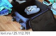 Купить «hands packing travel bag with personal stuff», видеоролик № 25112701, снято 13 января 2017 г. (c) Syda Productions / Фотобанк Лори