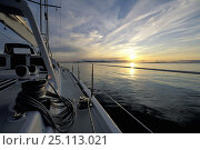 """Купить «The sun reflecting off the horizon at midnight, from aboard the superyacht """"Shaman"""", Norway, 1998.», фото № 25113021, снято 8 декабря 2019 г. (c) Nature Picture Library / Фотобанк Лори"""