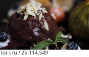 Купить «chocolate ice cream dessert on plate», видеоролик № 25114549, снято 17 января 2017 г. (c) Syda Productions / Фотобанк Лори