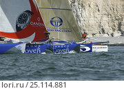 "Купить «ORMA 60ft multihulls ""Banque Covefi"" and ""Sergio Tacchini"", racing at the 2004 Grand Prix de Fecamps, France. For EDITORIAL use only.», фото № 25114881, снято 16 июля 2018 г. (c) Nature Picture Library / Фотобанк Лори"