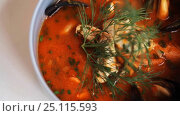 Купить «close up of seafood soup with fish and mussels», видеоролик № 25115593, снято 17 января 2017 г. (c) Syda Productions / Фотобанк Лори