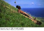 Купить «Easter Island local sliding down Maunga pu'i volcano during haka pei, part of the yearly Easter Island festival, Tapati Rapa Nui. Haka pei involves sliding...», фото № 25115685, снято 18 августа 2018 г. (c) Nature Picture Library / Фотобанк Лори