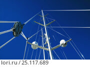 """Купить «Looking up at the rig and masts of 154ft ketch superyacht """"Sheherazade"""". ^^^ The two masts reach 185 feet and 110 feet high, the taller being the equivalent of 11 stories high.», фото № 25117689, снято 23 мая 2018 г. (c) Nature Picture Library / Фотобанк Лори"""