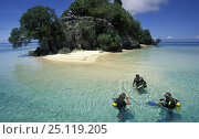 Купить «Three divers in the clear waters in front of Punten Kramat, Walea Island, Sulawesi, Indonesia», фото № 25119205, снято 16 января 2019 г. (c) Nature Picture Library / Фотобанк Лори