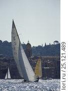 "Купить «A 12 metre yacht ""K10"" starting a race off St.Tropez, South France.», фото № 25121489, снято 20 октября 2019 г. (c) Nature Picture Library / Фотобанк Лори"