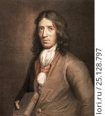 Portrait of William Dampier, naturalist, explorer and buccaneer (August 1651 - March 1715). A posthumous 1787 Copperplate engraving by Charles Sherwin after the 1698 painting by T. Murray. Стоковое фото, фотограф Paul D Stewart / Nature Picture Library / Фотобанк Лори