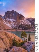 Купить «Temple Crag above Second lake, one the of the Big Pine lakes below the Palisade basin, John Muir Wilderness, Sierra Nevada, California, USA, May», фото № 25137773, снято 21 января 2018 г. (c) Nature Picture Library / Фотобанк Лори