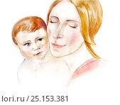 Мать и младенец. Любовь. Стоковая иллюстрация, иллюстратор Дарья Каба / Фотобанк Лори