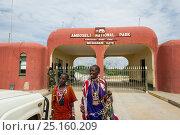 Купить «Maasai women selling their beadwork, Meshanani Gate Entrance, Amboseli National Park, Kenya.», фото № 25160209, снято 17 августа 2018 г. (c) Nature Picture Library / Фотобанк Лори