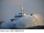 Купить «Fishing vessel 'Harvester' punching through heavy weather and large waves on the North Sea, December 2014. Property released.  All non-editorial uses must be cleared individually.», фото № 25160613, снято 16 октября 2018 г. (c) Nature Picture Library / Фотобанк Лори