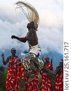 Купить «Local Intore dancer with straw headdress. Volcanoes National Park, Virungas,  Rwanda. February 2012.», фото № 25161717, снято 7 июня 2020 г. (c) Nature Picture Library / Фотобанк Лори