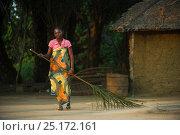 Купить «Woman sweeping with palm leaf, Republic of Congo (Congo-Brazzaville), Africa, June 2013.», фото № 25172161, снято 2 июля 2020 г. (c) Nature Picture Library / Фотобанк Лори