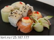 Купить «Uramaki and nigiri sushi served in black plate against white background», фото № 25187177, снято 8 декабря 2016 г. (c) Wavebreak Media / Фотобанк Лори