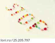 Купить «close up of jelly beans candies on table», фото № 25205797, снято 16 сентября 2015 г. (c) Syda Productions / Фотобанк Лори