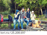 Купить «happy family sitting on bench at camp fire», фото № 25208697, снято 27 сентября 2015 г. (c) Syda Productions / Фотобанк Лори