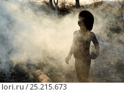 Купить «Himba child in smoke from fire. Kaokoland, Namibia, September 2013.», фото № 25215673, снято 17 августа 2018 г. (c) Nature Picture Library / Фотобанк Лори