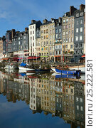 Купить «Honfleur harbour with boats and buildings reflected in the water, France, March 2013», фото № 25222581, снято 22 мая 2018 г. (c) Nature Picture Library / Фотобанк Лори