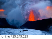 Купить «Lava and ash erupting from Plosky Tolbachik Volcano, Kamchatka Peninsula, Russia, 15 December 2012», фото № 25245225, снято 5 апреля 2020 г. (c) Nature Picture Library / Фотобанк Лори