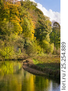 Купить «River Lathkill reflecting autumn colours, Lathkill Dale National Nature Reserve, Peak District National Park, UK, October, 2008.», фото № 25254889, снято 19 июля 2018 г. (c) Nature Picture Library / Фотобанк Лори