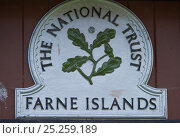 Купить «Close up of National Trust sign for the Farne Islands, on a wooden door, Inner Farne, Northumberland, June 2010.», фото № 25259189, снято 14 августа 2018 г. (c) Nature Picture Library / Фотобанк Лори