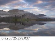 Купить «Kilchurn Castle on Loch Awe at dawn, Strathclyde,  Scotland, UK, April 2011», фото № 25278037, снято 19 июля 2018 г. (c) Nature Picture Library / Фотобанк Лори