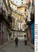 Купить «Old buildings along pedestrian street, Old Havana, UNESCO World Heritage Site, capital of Cuba, Caribbean», фото № 25283373, снято 19 августа 2018 г. (c) Nature Picture Library / Фотобанк Лори
