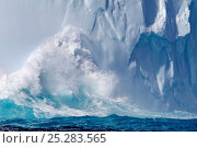 Купить «Waves crashing on a massive iceberg. Drake Passage, near the South Shetland Islands, Antarctica, January.», фото № 25283565, снято 17 августа 2018 г. (c) Nature Picture Library / Фотобанк Лори