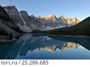 Купить «Morraine Lake, in the Valley of the Ten Peaks, Banff National Park, Alberta, Canada.», фото № 25288685, снято 31 мая 2020 г. (c) Nature Picture Library / Фотобанк Лори