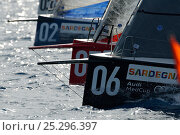 Купить «Bows on startline during the 2011 Audi MedCup Circuit. Cagliari, Sardinia, Italy, July 2011. All non-editorial uses must be cleared individually.», фото № 25296397, снято 25 мая 2018 г. (c) Nature Picture Library / Фотобанк Лори