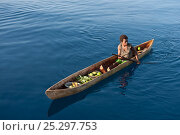 Papua New Guinean islander paddling his dugout canoe to trade fresh vegetables. He will come back with instant noodles, rice, soap and other groceries... Редакционное фото, фотограф Jurgen Freund / Nature Picture Library / Фотобанк Лори